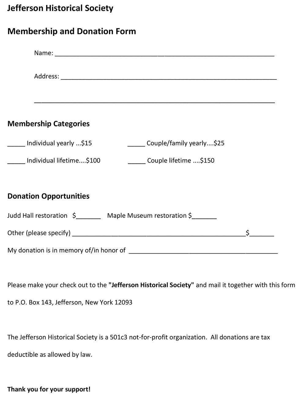 JHS Membership and donation form